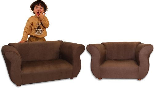 Fantasy Furniture Sofa And Chair Fancy Set, Brown