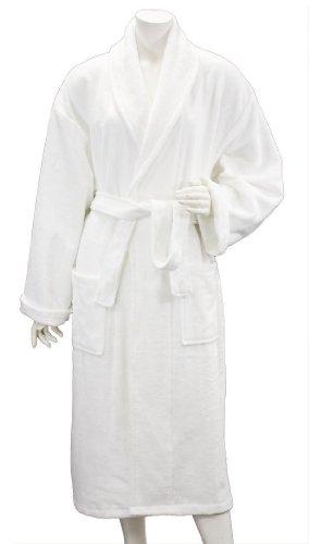 Maghso Long White Egyptian Cotton Bath Robe With Collar