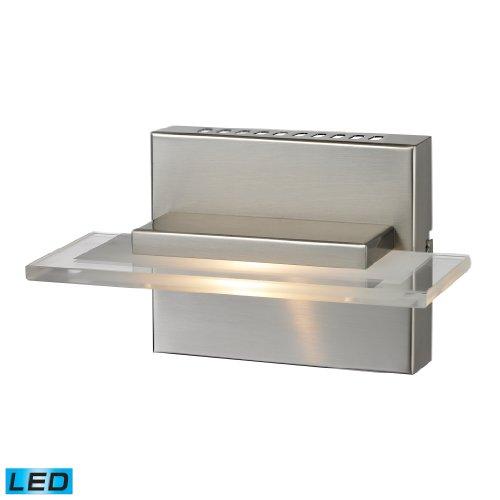 Elk Lighting 81070/1 7-3/4 by 4-1/2-Inch Linton LED 1-Light Bathroom Vanity Light with White Glass Shade, Satin Nickel Finish