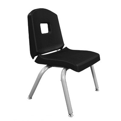 """Creative Colors 10Chrn-Bk-Bm Split-Bucket Chair, Self-Leveling Glides, 10"""" Height, Black Seat And Back, Brushed Metal Frame front-1030536"""