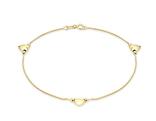 Carissima Gold 9 ct Yellow Gold 3 Hearts Box Chain Bracelet of 19 cm/7.5-inch