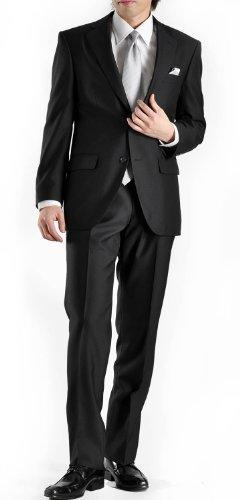 (ブラック・フォーマル)BLACK FORMAL2ツボタンメンズ フォーマルスーツ AB-7(LL)F2010-12-AB-LL(ブラック ウエストアジャスター調整機能付き プリーツ加工 スラックス 礼服 喪服 冠婚葬祭 セレモニー 結婚式)(F2010-12)