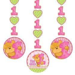 Teddy Bear 1st Birthday Girl Dangling Cutouts (3 ct)