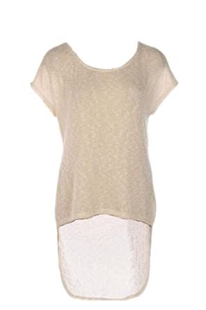 G2 Chic Women's Round Neck High-Low Tunic Top(TOP-CAS,WHT-S)