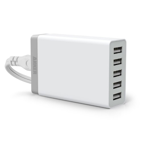 Anker® 40W 5-Port Family-Sized Desktop USB Wall Charger with PowerIQ™ Technology for iPhone 5S, 5C, 5, 4S, iPad Air, Mini, Galaxy S5, S4, Note 2, 3, Tab 2, 3, HTC One (M8), Google Nexus, External Batteries and more (White)