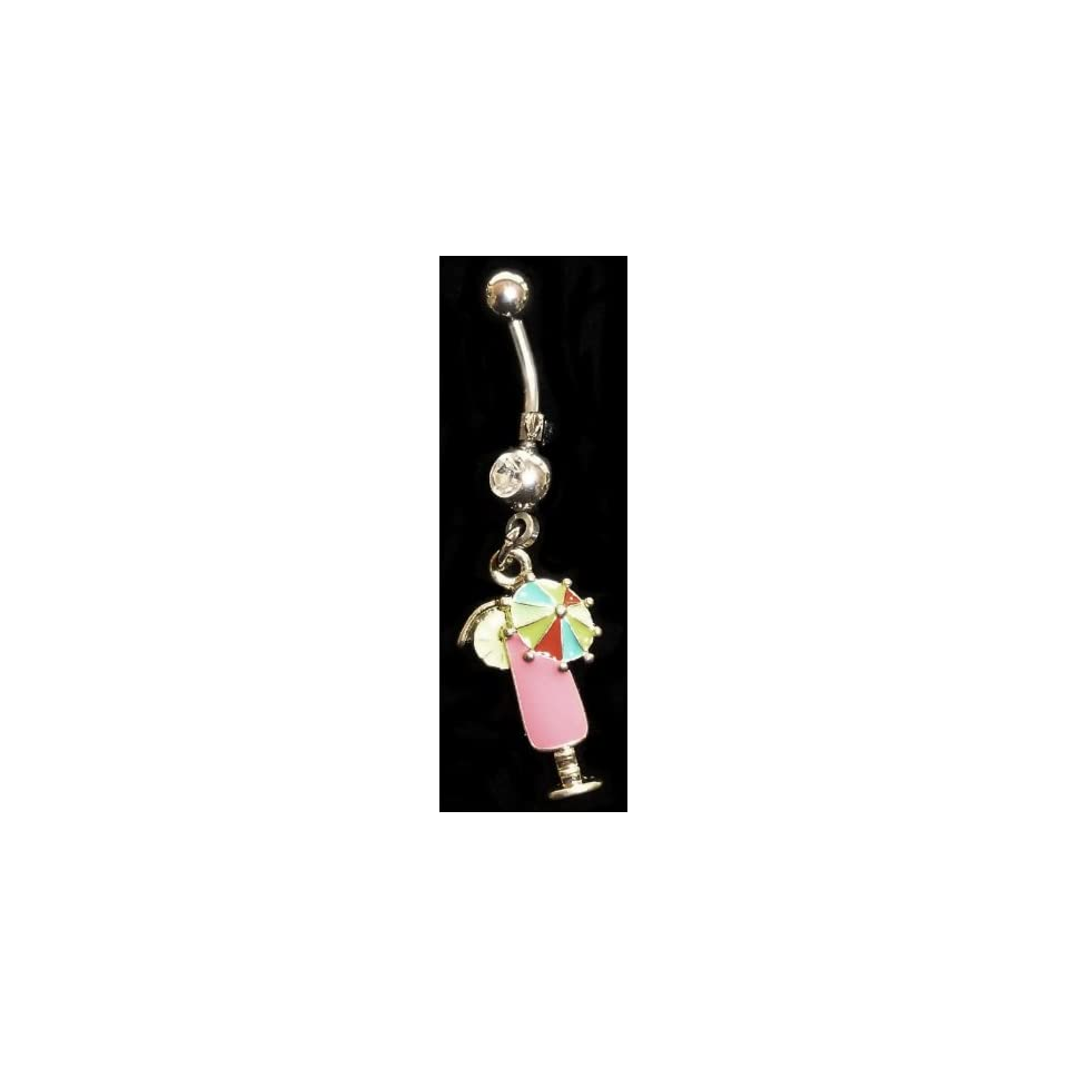 Tropical Pink Drink Belly Ring with CZ Stone 316l Surgical