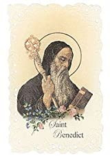 Saint St Benedict Holy Prayer Pocket Card Printed in Italy w Scalloped Border