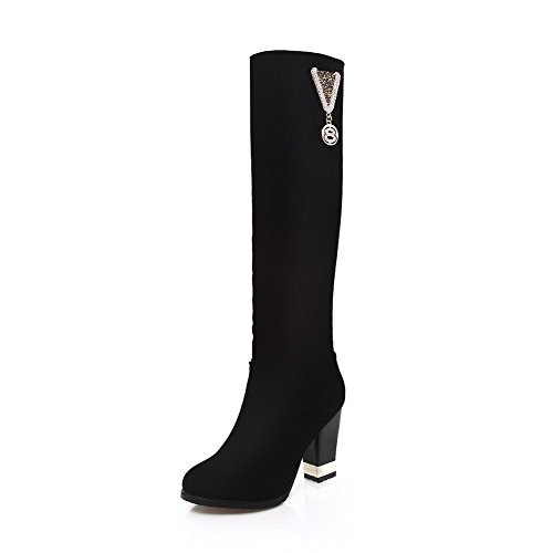 Voguezone009 Ladys Closed Round Toe High Heel Xi Shi Velvet Solid Boots With Glass Diamond, Black, 35