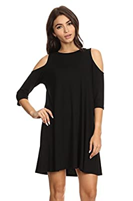 A+D® Womens Half Sleeve Crewneck Swing Dress w/ Cold Shoulders