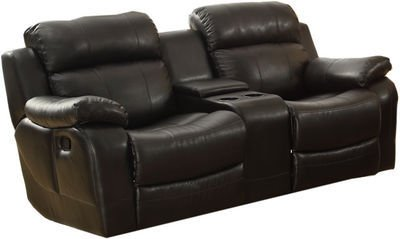 Darrin Leather Reclining Loveseat With Console - front-1022174