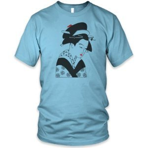 MENS PREMIUM PRINTED T SHIRT Geisha Girl