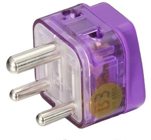 HIGH QUALITY AC POWER TRAVEL ADAPTER PLUG FOR INDIA and more / WITH DUAL PLUG-IN PORTS AND SURGE PROTECTION / GROUNDED (Adaptor Plugs For India compare prices)