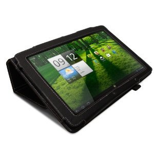 Greatshield Premium Leather Flip Stand Protective Folio Case For Acer Iconia Tab A510 / A700 10.1 Inch Tablet (Black)