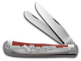 Case Xx David Yellowhorse Custom Orange Spiny Oyster Trapper 1/2 Pocket Knife Knives