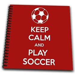 EvaDane - Quotes - Keep calm and play soccer. Soccer Lovers. Goalie. Red. - Drawing Book by 3dRose LLC