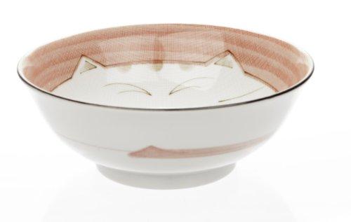 """Smiling Pink Cat Porcelain Flare Soup Bowl 7-1/2""""- Pink Color"""