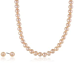 Peach Freshwater Cultured Pearl Two Piece Matching Necklace and Stud Earrings Set with Sterling Silver Clasp (6-7mm), 18""