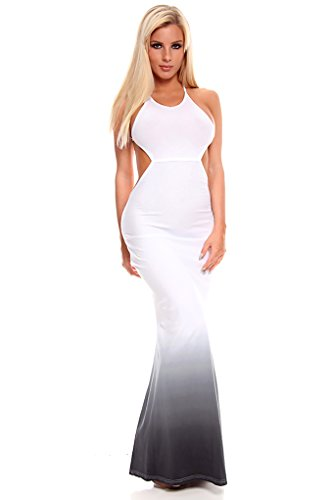 Lolli Couture Cut Out Sides Open Back Halter Criss Cross Back Long Maxi Dress White/Grey S back-5763