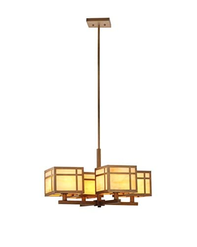 Safavieh Craftsman Chandelier, Amber/Antique Gold