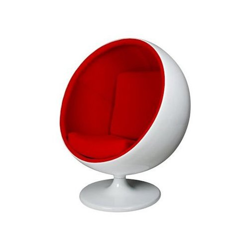 RETRO EERO AARNIO INSPIRED BALL POD GLOBE CHAIR - WHITE/RED