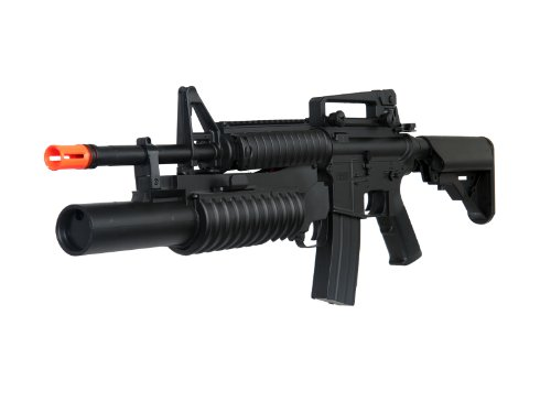 m3181ab m4a1 carbine with m203 grenade launcher, 2 mags, 2 adjustable stocks, 2 handguards, tactical flashlight(Airsoft Gun) (Grenade Launcher Bb Gun compare prices)