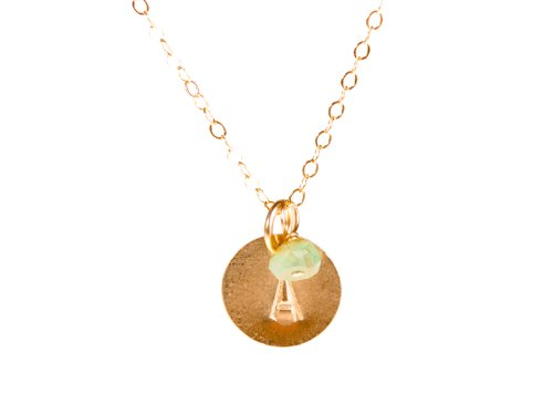 Tiny Gold Custom Initial Necklace  Birthstone