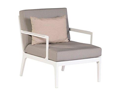 SEVILLA Lounge Garten Sessel Weiß & Textilene Taupe jetzt bestellen