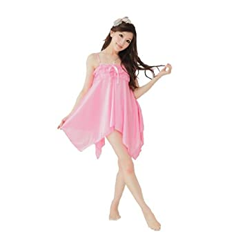 Sexy Sleepwear Spaghetti Satin Mini Dress with G-string (Pink)