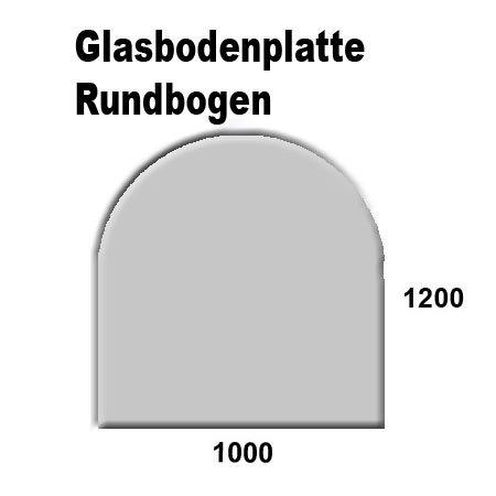 Glasbodenplatten farbig für Kaminöfen verschiedene Formen und Stärken Grau Rundbogen 1000×1200