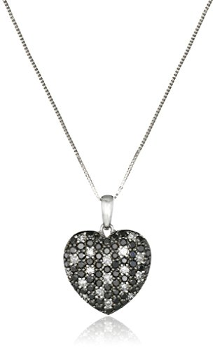 14k White Gold Black and White Diamond Heart Pendant Necklace (1 1/4cttw, I-J Color, I2-I3 Clarity), 18""