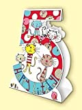 Rachel Ellen Age 5 Cats Stand Up Birthday Card