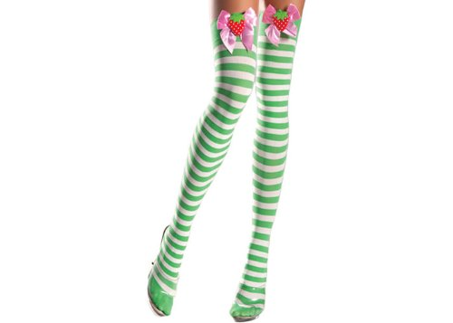 Be Wicked Women's Green and White Striped Thigh High with Strawberry On Bow, Multi, One Size