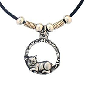 Earth Spirit Necklace - Cat in Circle - Earth Spirit Necklace