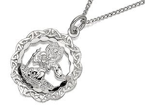 Silver Celtic Edge St. Christopher And Chain - 19mm