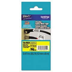 * Tze Flexible Tape Cartridge For P-Touch Labelers, 1/2In X 26.2Ft, Blk On Yellow