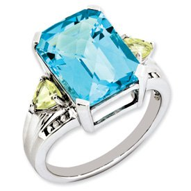 Genuine IceCarats Designer Jewelry Gift Sterling Silver Blue Topaz, Lemon Quartz & Diamond Ring Size 6.00