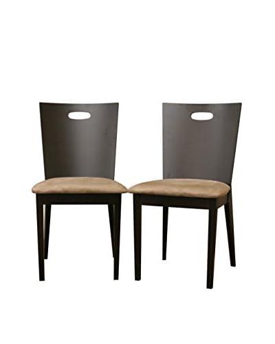 Baxton Studio Set of 2 Lamar Dining Chairs, Dark Brown