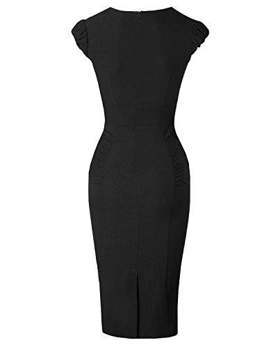 Newdow Lady's 50s Vintage V-neck Capsleeve Pencil Dress (Large, Black)