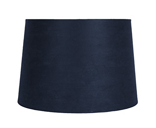 Urbanest Navy Blue suede Drum Lampshade, 14-inch By 16-inch By 11-inch, Spider Fitter