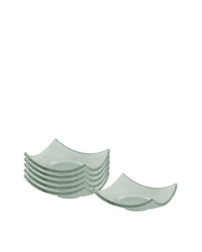 10 Strawberry Street Set of 6 Tahoe Coupe Square Tid Bit Bowls, Aquamarine
