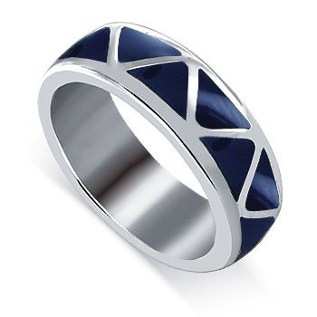 Gem Avenue Men's 925 Sterling Silver 6mm Wide Lapis Gemstone Southwestern Style Band
