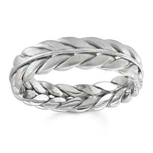 Women's 14k White Gold Braided/Handwoven Wedding Band (6.00 mm)