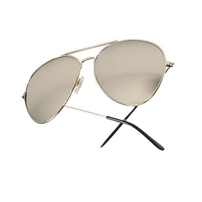 Silver Frame & Mirrored Lens Aviator w/ Microfiber Sunglasses Pouch