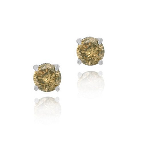 Sterling Silver 1/2 Ct. TDW Champagne Stud Earrings