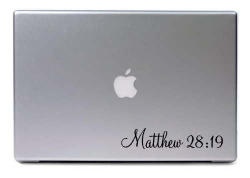Laptop Mac - Matthew 28:19 Religious Apple Macbook Funny Decal - Matte Black Skins Stickers front-538425