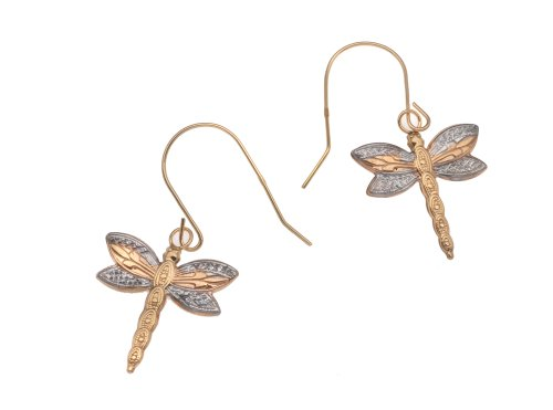 9ct Yellow/Red/White Gold Dragonfly Drop Earrings