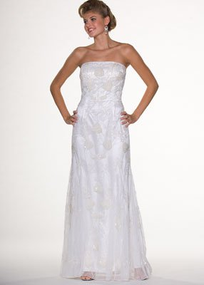 Strapless Ivory Beaded Evening Dress - Bridal, Wedding, Party, Formal Gown by Sean Collection (1817)