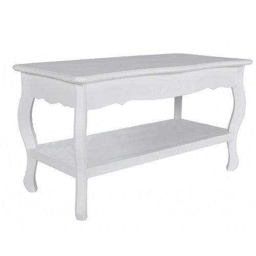 WMicroUK Top Quality Modern Coffee Table MDF Brushed Pine,Fashionably Designed Two Level Coffee Table In White Color