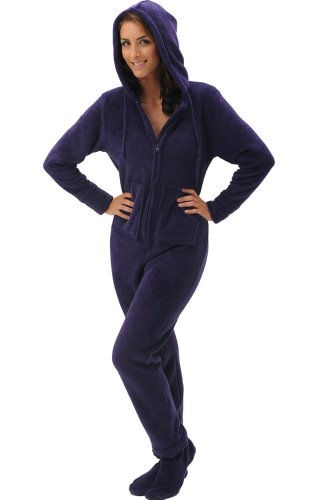 Details for Del Rossa Women's Fleece Hooded Footed One Piece Onsie Pajamas