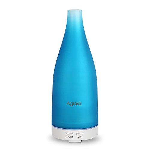 Aglaia 100ml Aromaterapia diffusore del Vetro AD-G2, Umidificatore aroma a ultrasuoni con LED luci di 7 colori, Senz'acqua Spegnimento automatico, perfetto per Casa, Ufficio, Yoga, Studio